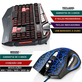 Teclado Gamer Warrior + Mouse 06 Botões Led 2.400 Dpi