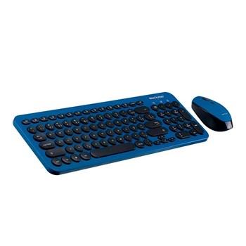 Teclado Mouse Sem Fio 2.4 Ghz Teclas Redondas Preto/azul Usb