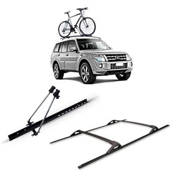 Travessa Rack Pajero Full Aluminio Prata + Suporte Bike
