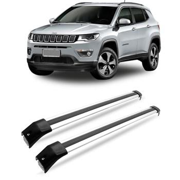 Travessa Rack Teto Jeep Compass 2017 A 2018 Alumínio Prata