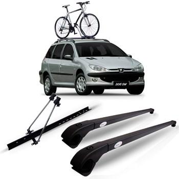 Travessa Teto Peugeot 206 Wagon Sw Preta Fina + Suporte Bike