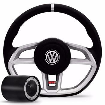 Volante Golf Gti Gol Parati Saveiro G2 G3 G4 Prata Vision Com Cubo